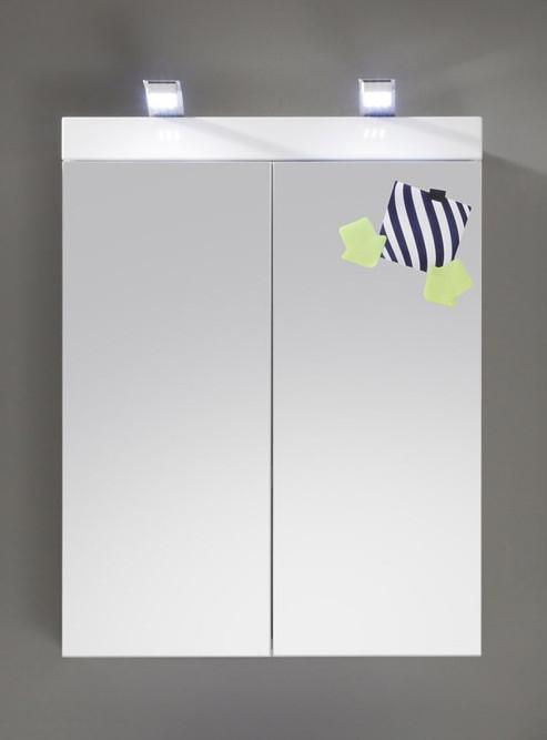 Spiegelschrank Mit Zwei Türen Weiß Hochglanz Woody 93-00797 Weiss Spanplatte Modern