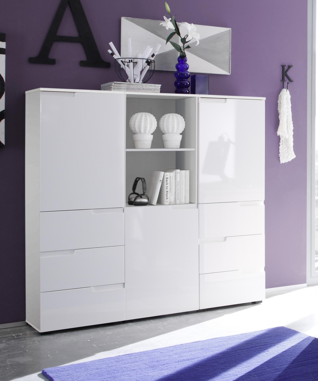 schrankkombination weiss hochglanz woody 32 00075 holz. Black Bedroom Furniture Sets. Home Design Ideas