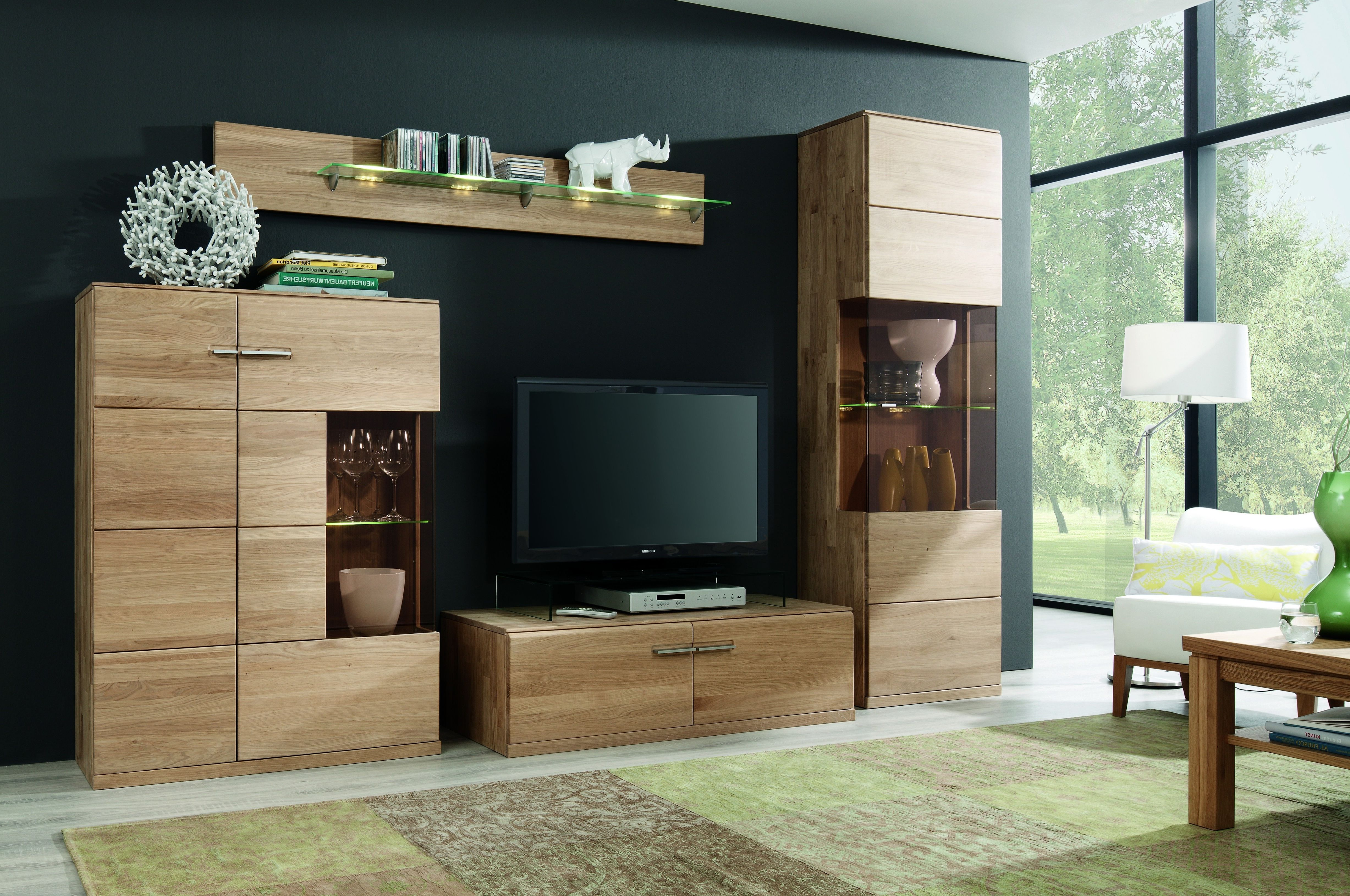 Wohnwand Eiche Bianco Massiv Geölt & Gewachst Woody 35 00248 Holz Modern – Möbel24 ganz nach ...