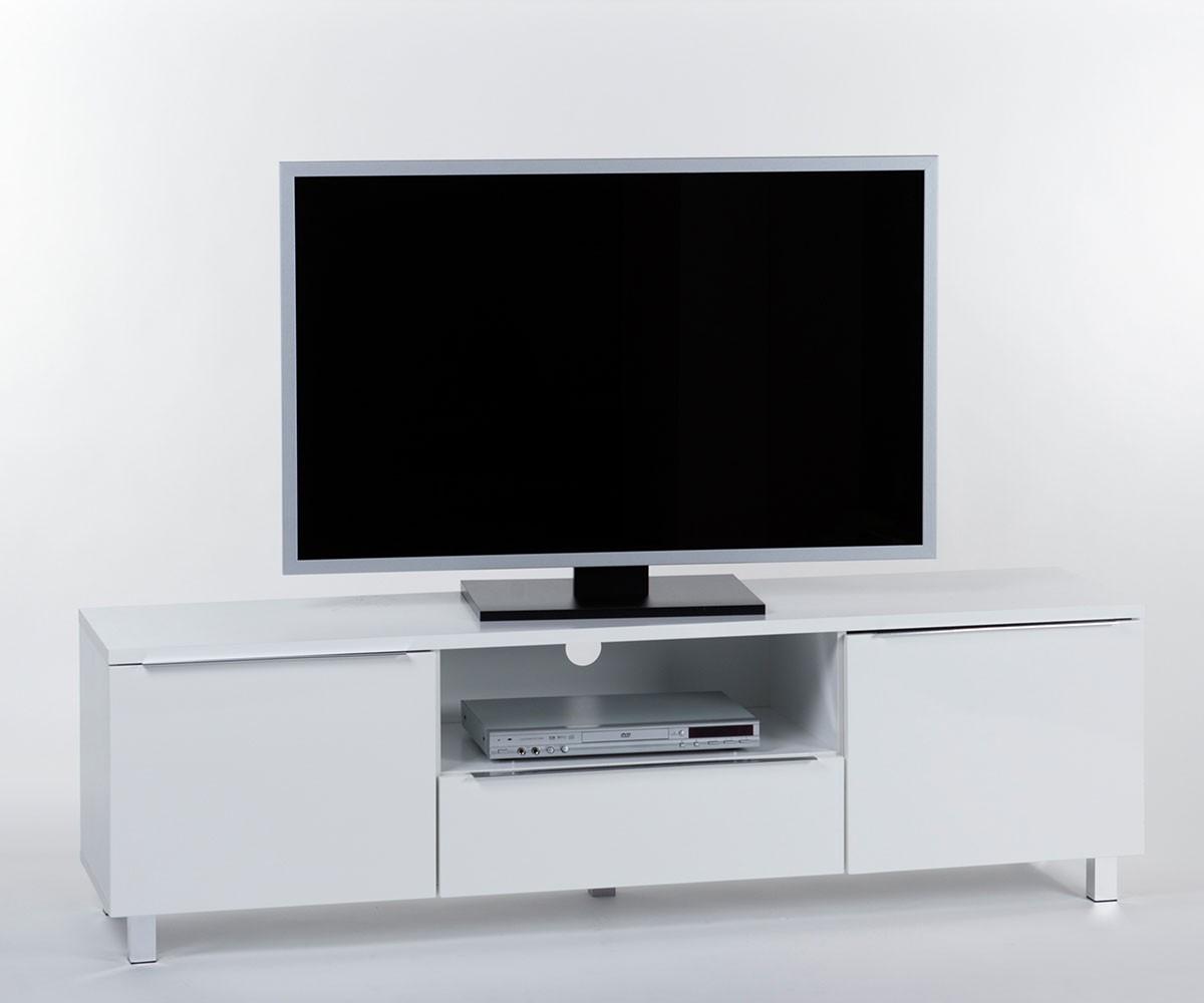 DELIFE Lowboard Sabino 165x45 cm Weiss Hochglanz 2 Türen, Fernsehtische