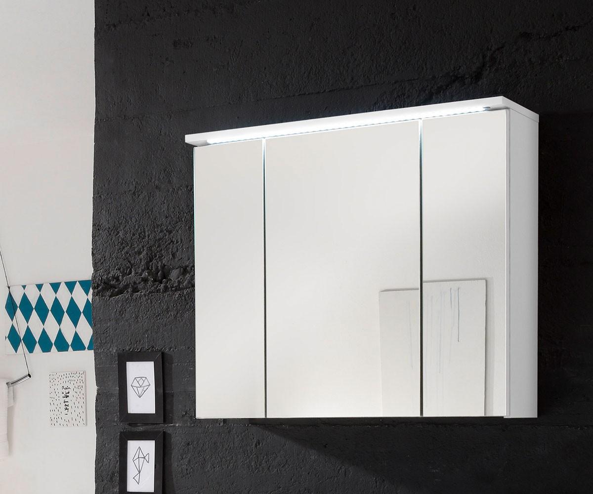 DELIFE Spiegelschrank Sibyl 80x68 cm Weiss Hochglanz, Badmöbel