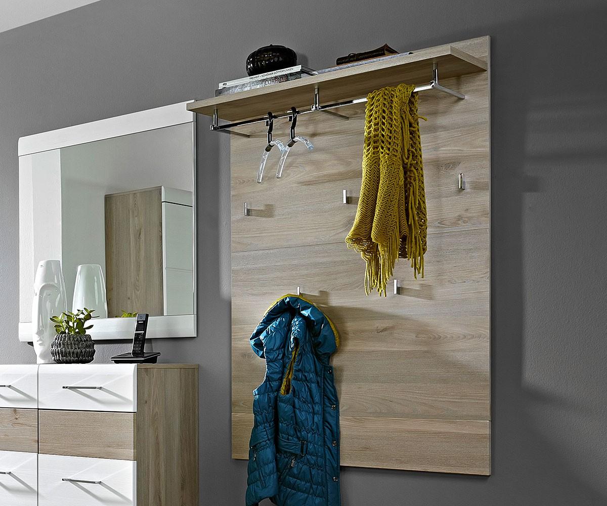 DELIFE Wandgarderobe Abaz 84x128 cm Eiche Silbereiche 5 Haken, Dielenmöbel