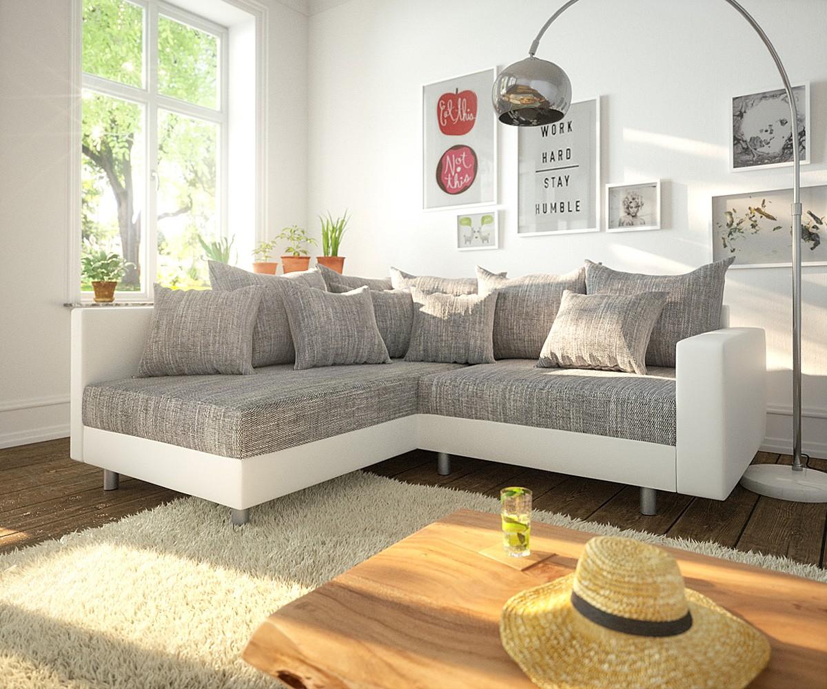 DELIFE Ecksofa Clovis Weiss Hellgrau Modulsofa Armlehne Ottomane Links, Design Ecksofas, Couch Loft, Modulsofa, modular