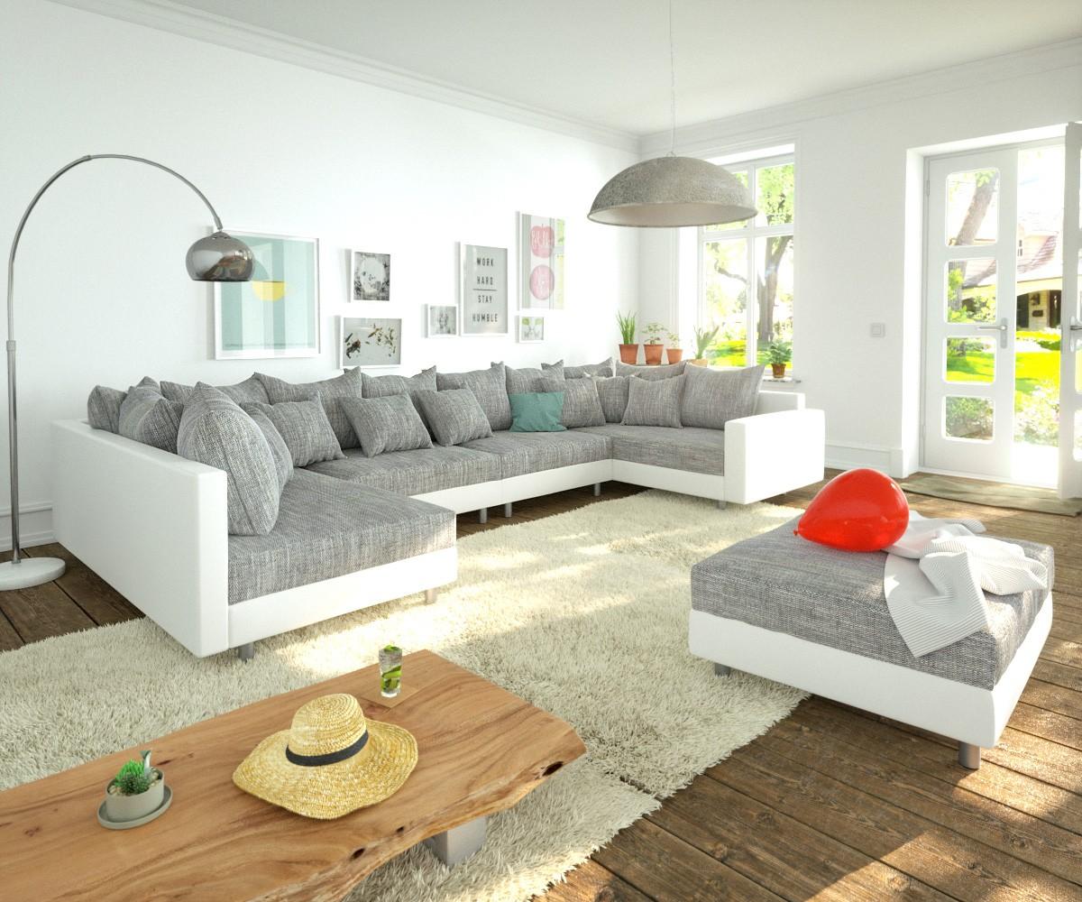DELIFE Wohnlandschaft Clovis XL Weiss Hellgrau Hocker Armlehne modular, Design Wohnlandschaften, Couch Loft, Modulsofa, modular