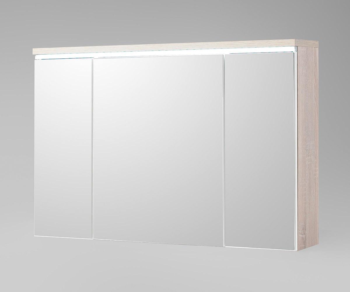 DELIFE Spiegelschrank Mendoza 100x67 Eiche-Optik mit LED, Badmöbel