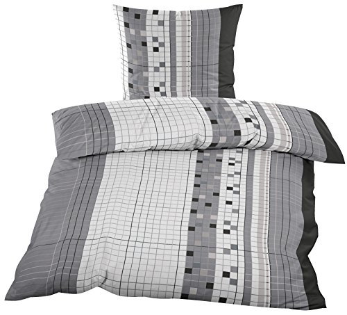 2 tlg. Biber 100% Baumwolle Winter Bettwäsche ,135x200 + 80x80 in Grau / Karro mit Reißverschuss / Winterbettwäsche Home-Impression