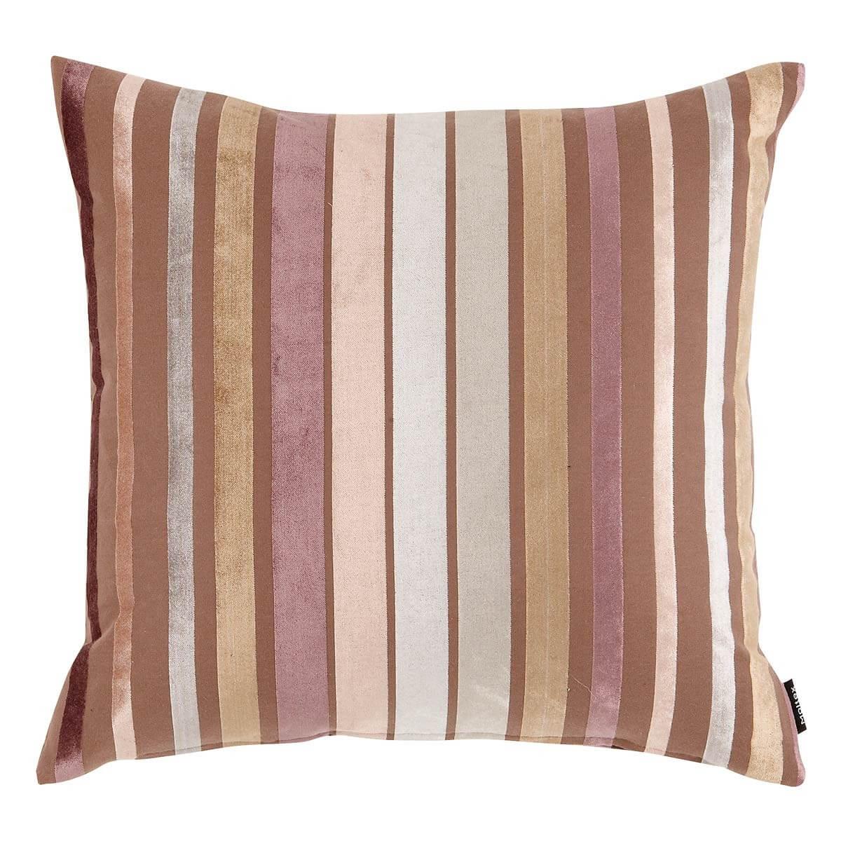 Kissen 50x50 cm Pink, Beige, Braun gestreift
