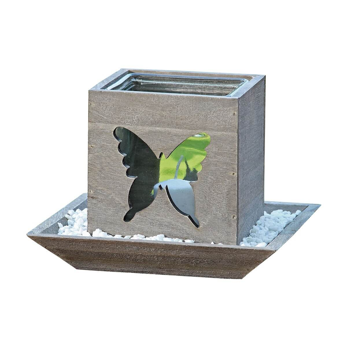 Windlicht Höhe 17cm Holz / Glas Grau