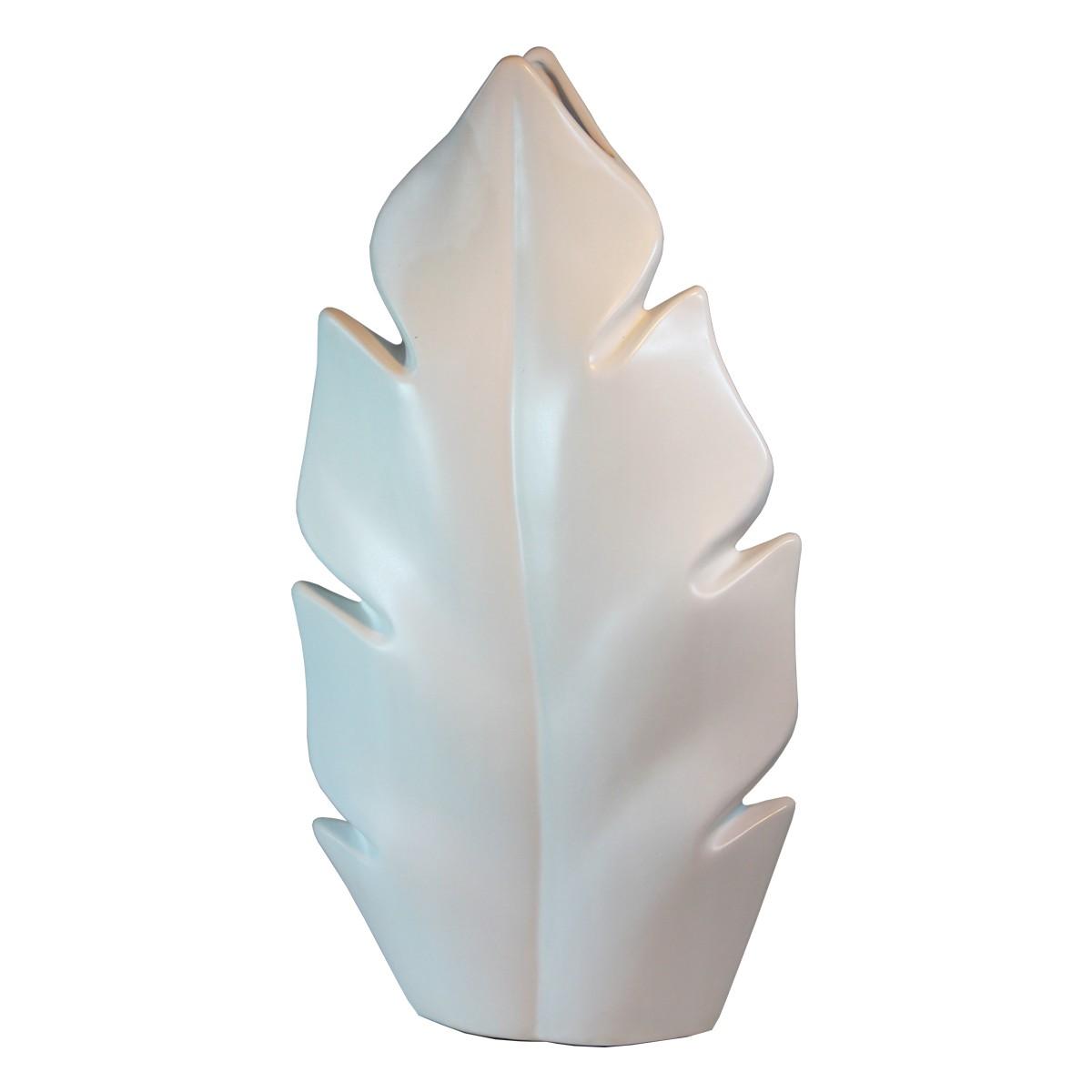 Keramik Vase mit Blattform in Weiß
