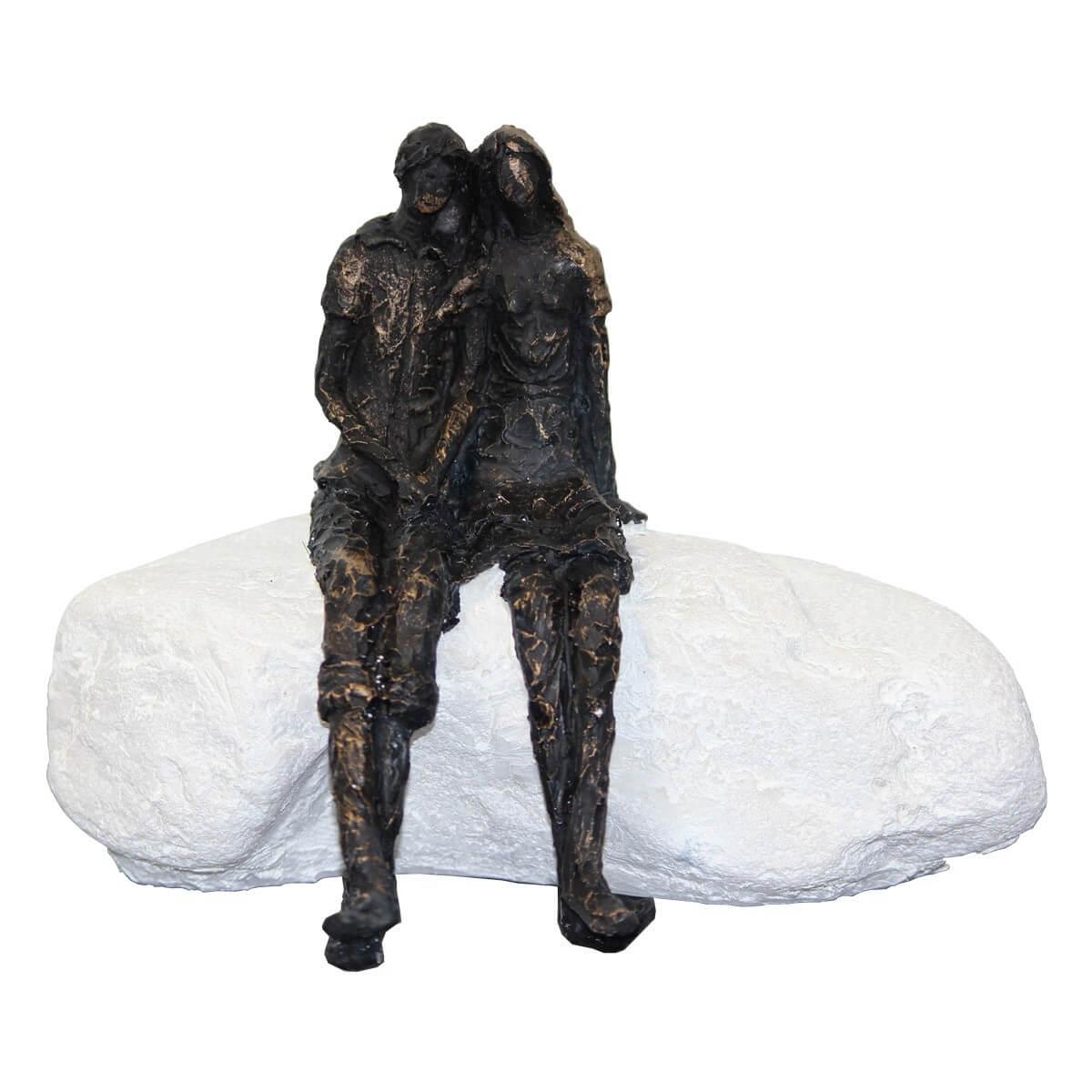 Deko Skulptur Creme / Schwarz