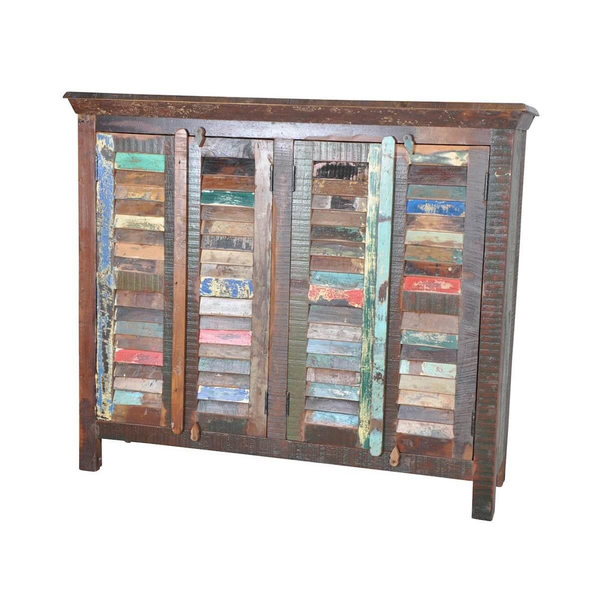 sideboard 4 trg aus recyceltem massivholz bunt m bel24. Black Bedroom Furniture Sets. Home Design Ideas