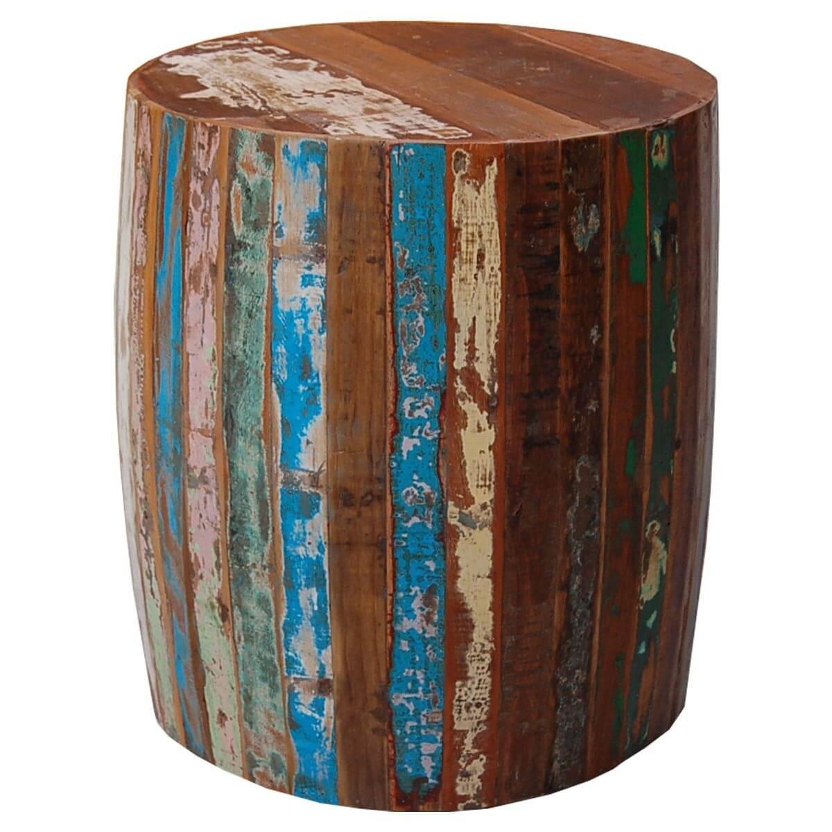 Hocker rund aus recyceltem Massivholz