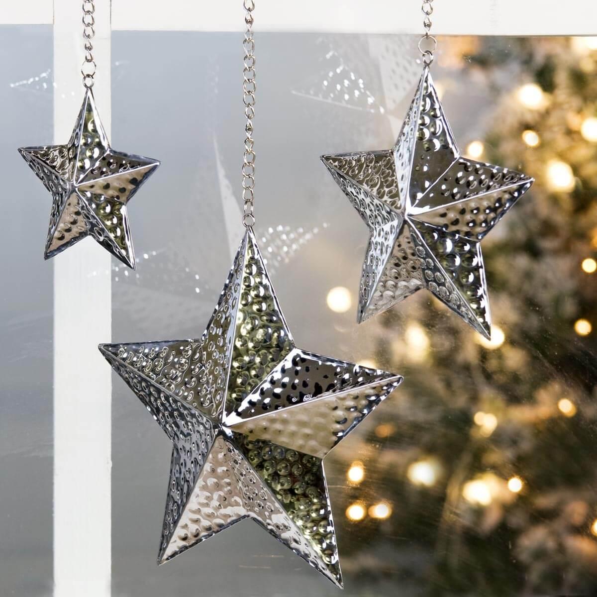 Weihnachtsstern Ø20 Metall gehämmert Silber