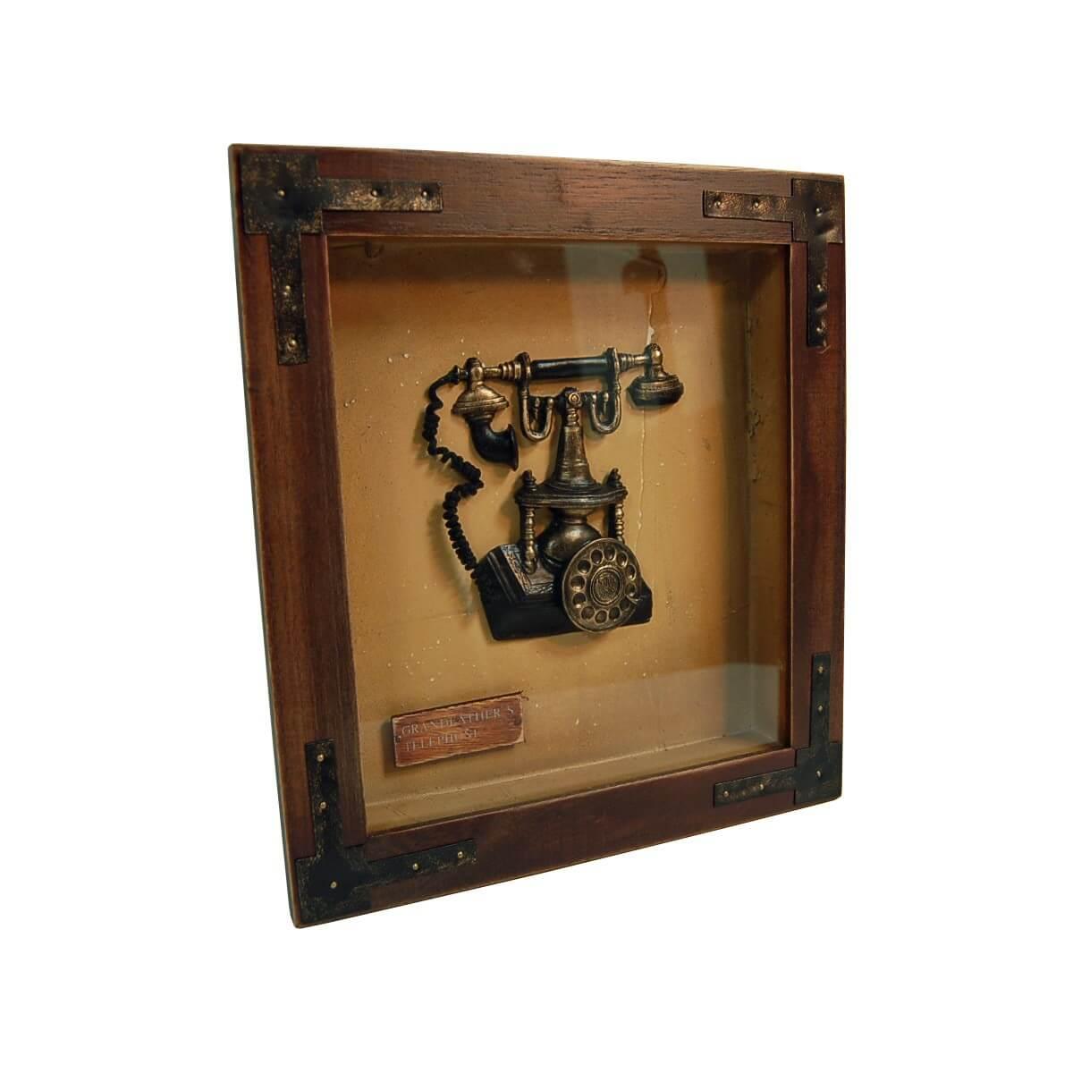 wandbild grandeather s telephone aus holz und glas m bel24. Black Bedroom Furniture Sets. Home Design Ideas