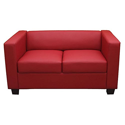 2er sofa couch loungesofa lille kunstleder rot m bel24. Black Bedroom Furniture Sets. Home Design Ideas