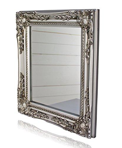 32x27x3cm rechteckiger Wand-Spiegel, handgefertigter Vintage-Antik-Rahmen aus Holz, silber, inkl. Befestigung