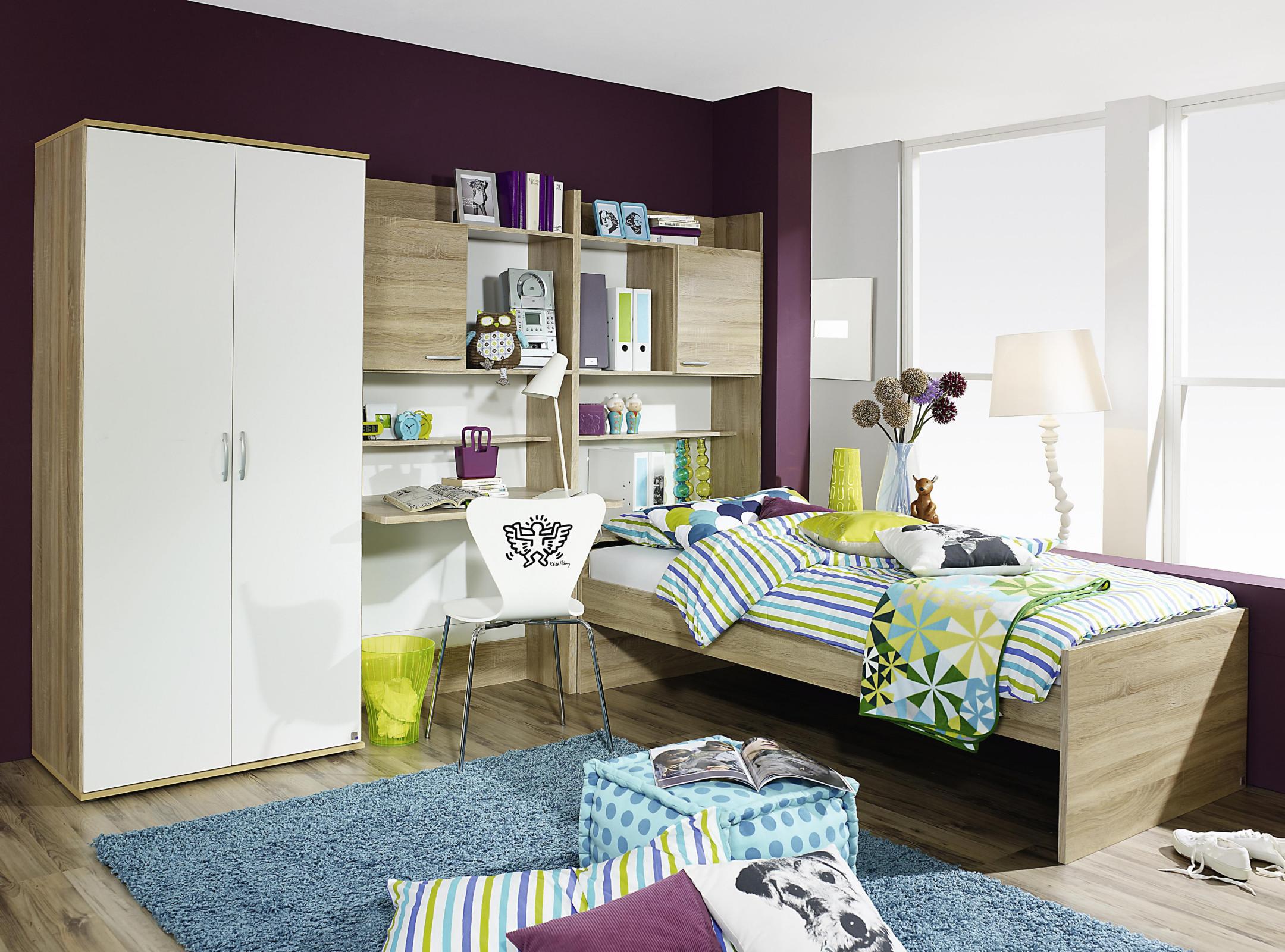 Jugendzimmer mit bett 90 x 200 cm alpinweiss eiche sonoma for Jugendzimmer wenig platz