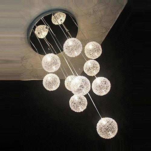 35,6cm New 10Lights Aluminium Draht Glas Kugeln Parlor Deckenleuchte Pendelleuchte Modern Treppe Fall Wohnzimmer Küche Esszimmer Deckenleuchte