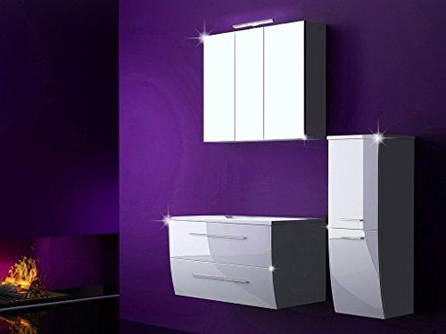 4 Tlg. Badmöbel Set Badezimmermöbel Komplett Set Waschbeckenschrank 120 cm mit Waschtisch + Spiegelschrank mit LED Weiss Hochglanz