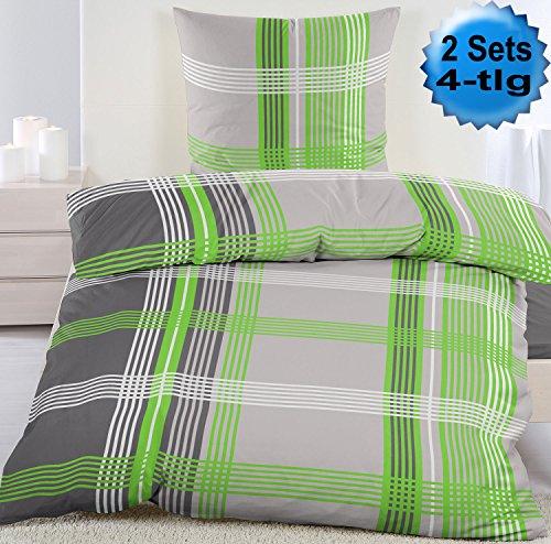 4-tlg. Biber Winter Bettwäsche 2x (135 x 200 + 80x80 cm), grün grau weiss, kariert, Baumwoll Mischgewebe (40090)