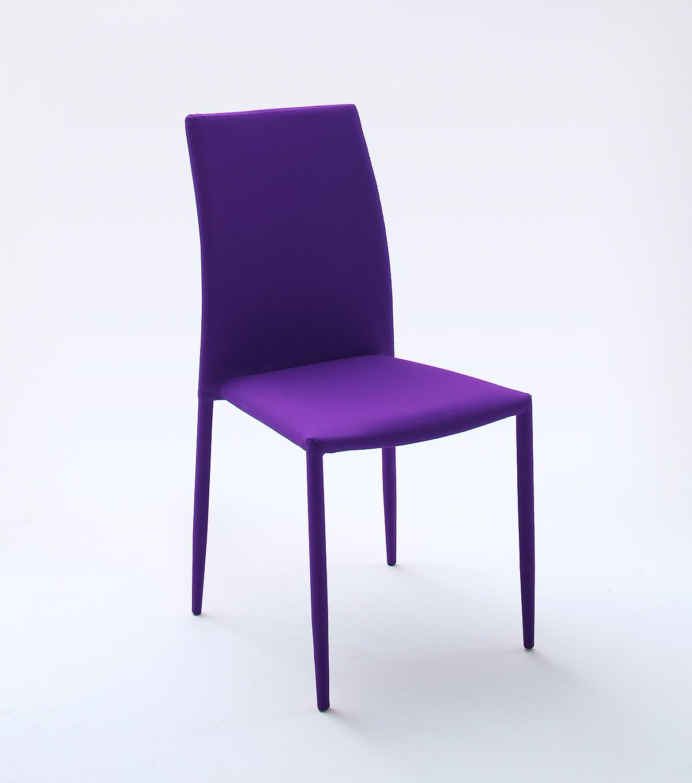 6er Stuhlset Stapelstuhl Violett Woody 41-01529 Stoff modern