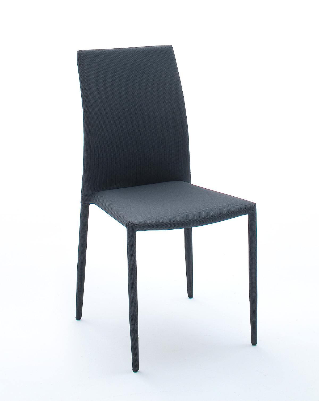 6er Stuhlset Stapelstuhl Schwarz/ Grau Kariert Woody 41-01533 Stoff modern