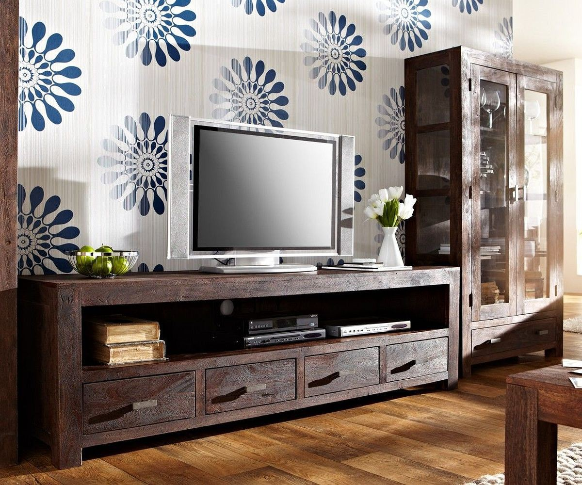 wolf m bel lowboard guru 200x55 akazie tabak 4 schubladen by wolf fernsehtische m bel24. Black Bedroom Furniture Sets. Home Design Ideas