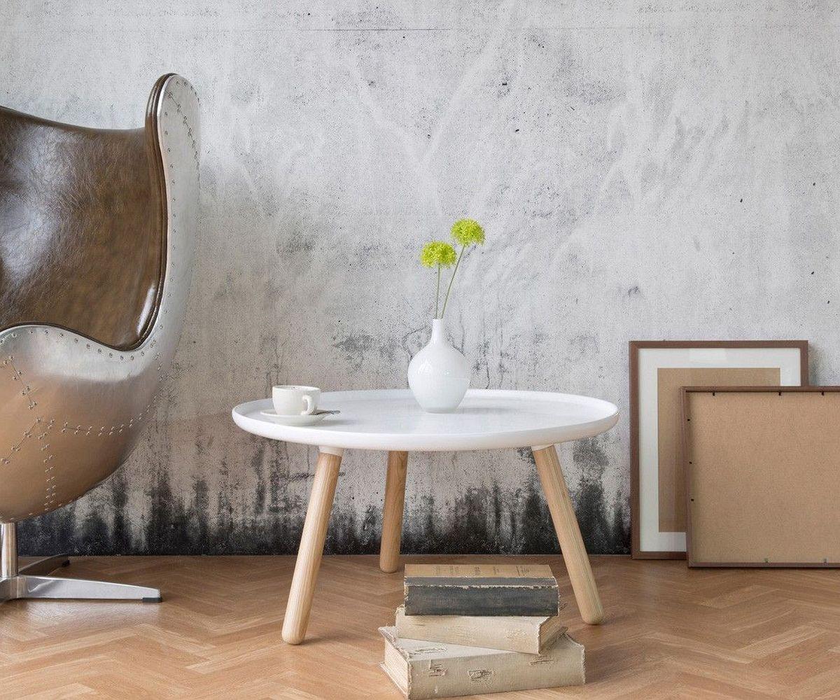DELIFE Beistelltisch Alexej 78cm Weiss Beine Natur Bauhausstil, Beistelltische