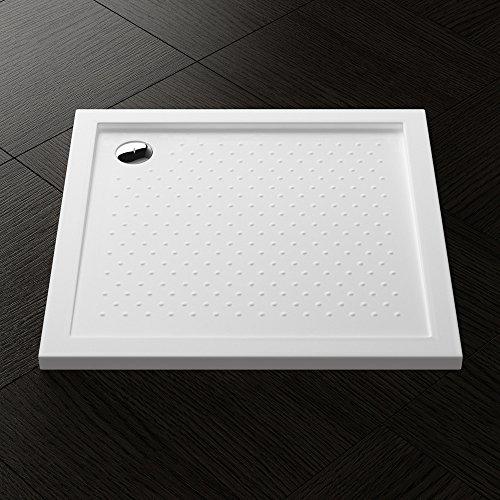 90x90x4 cm Design Duschtasse Lucia01AR mit Anti-Rutsch Profil in Weiß, inkl. Ablaufgarnitur mit Ablaufschlauch AL01, Duschwanne, Acrylwanne