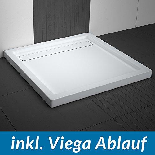 aquabad duschwanne comfort linea flat 100x100cm quadrat inkl viega domoplex ablauf waagerecht. Black Bedroom Furniture Sets. Home Design Ideas