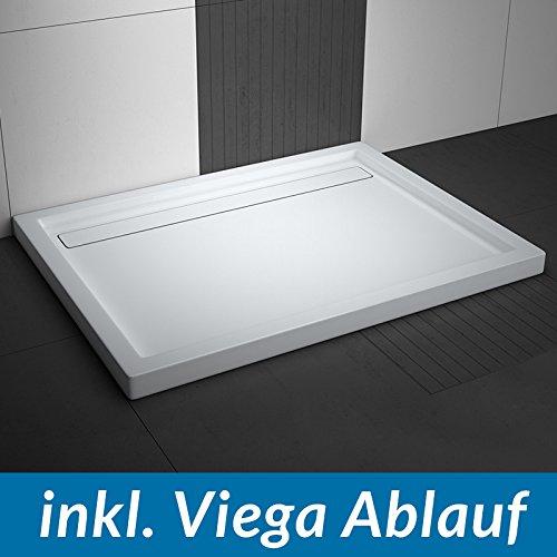 AQUABAD® Duschwanne Comfort Linea Flat 90x120cm Rechteckig inkl. Viega Domoplex Ablauf senkrecht