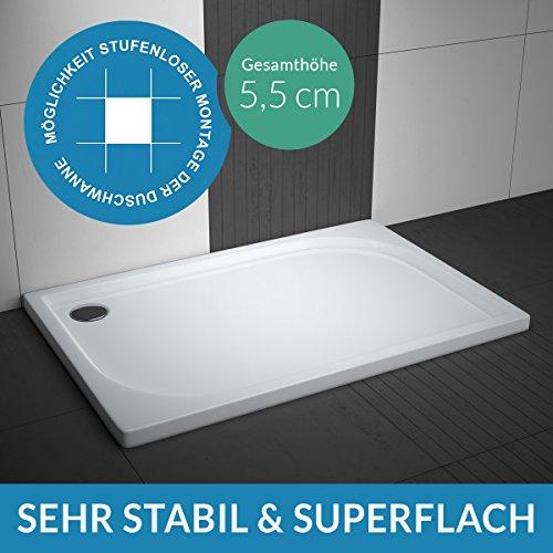 AQUABAD® Duschwanne Comfort Praktica 80x120cm Rechteck