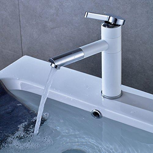 ARUHE® Elegant Waschtischarmatur Einhandmischer Waschtischbatterie Hochdruckarmatur Badarmatur 2 Jahre Garantie (Weiß)