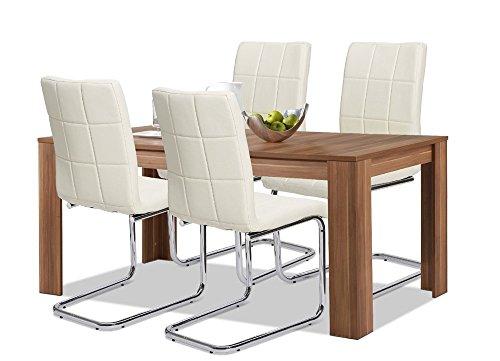 Agionda® Esstisch + Stuhlset : 1 x Esstisch Toledo Nussbaum 140 x 90 + 4 Freischwinger PAUL creme mit CHROMGESTELL und 120 kg Belastbarkeit !