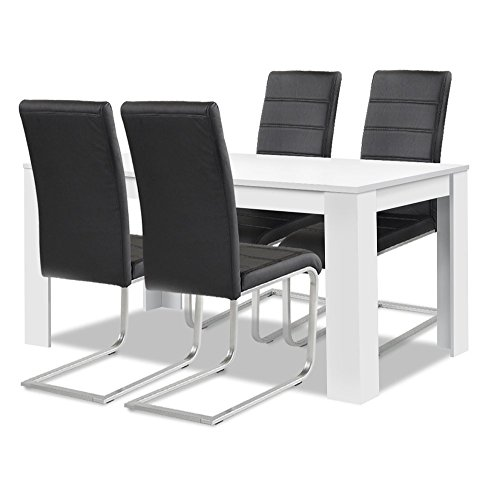 Agionda® Esstisch + Stuhlset : 1 x Esstisch Toledo Weiss 140 x 90 + 4 Freischwinger schwarz
