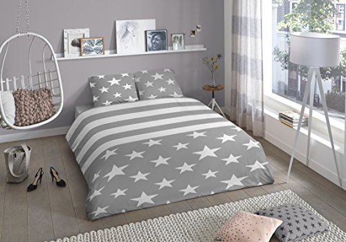 Aminata elegante Jugend-Bettwäsche 135x200 cm Sterne Streifen Grau weiß Teenager-Bettwäsche Baumwolle