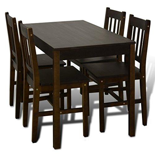 Anself 5 Teilige Essgruppen Esstisch aus Holz mit 4 Holzstühlen Braun