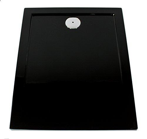 Art-of-Baan® - Extra flache Duschtasse, Duschwanne aus Acryl, glatt schwarz; 120x80x3,5cm inkl. Ablaufgarnitur