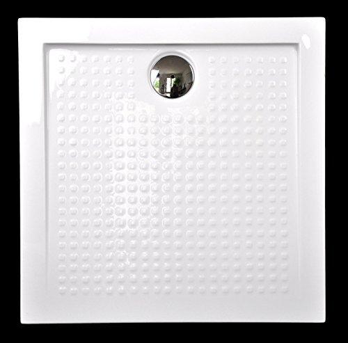 Art-of-Baan® - Extra flache Duschtasse, Duschwanne aus Acryl weiss Hochglanz Antirutsch; 90x90x3,5cm inkl. Ablaufgarnitur