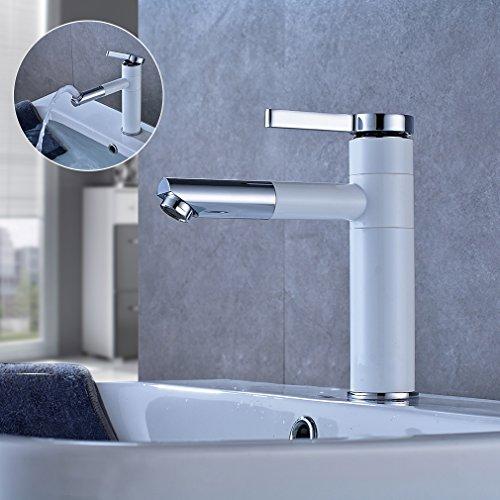 Aruhe® Wasserhahn Einhebel Mischbatterie Waschtischarmatur Armatur Einhebelmischer Einhandmischer für Bad Weiß+Chrom