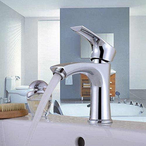 Auralum® Elegant Chrom Einhebel- Mischbatterie Verchromt Wasserhahn Armatur Waschtischarmatur Wasserfall Einhandmischer für Bad Waschbecken