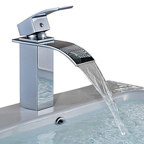 Auralum® Elegant Einhebel Mischbatterie Wasserhahn Armatur Waschtischarmatur Wasserfall Einhandmischer für Bad Badezimmer Waschbecken