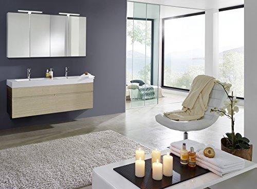 Bad11® - 2 teiliges Badmöbelset PROMETHEUS Deluxe - Farbton Sonomaeiche matt mit Doppelwaschbecken Waschplatz mit zwei Schubfächern mit Softclose - Funktion und zwei Spiegelschränken Farbauswahl