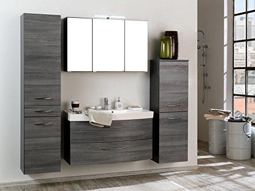 """Badezimmer Komplettset Schrank Bad Waschtisch Möbel Set Spiegel """"Graphit I"""""""