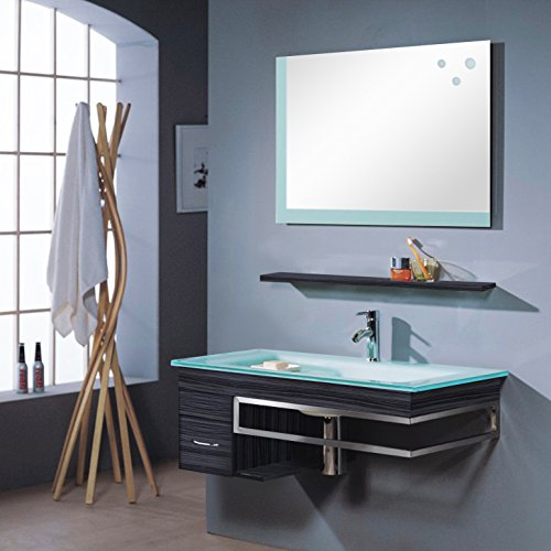 Badezimmermöbel Set - Badmöbel Bari - Wenge - M-70130/238 - Spiegel - Unterschrank - Waschbecken