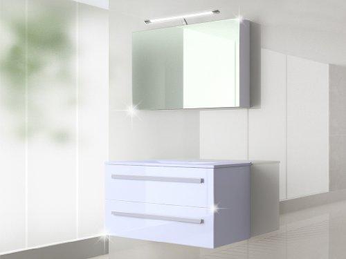 Badmöbel Set Badezimmermöbel Waschbeckenschrank mit Waschtisch +Spiegelschrank 90cm oder 120 cm Weiss Hochglanz (Palma Weiss 90 cm)