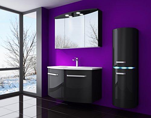 Badmöbel set Atlantis Hochglanz Lackiert Fronten und seiten schwarz 90 cm besteht aus: waschbeckenunterschrank, spiegelschrank mit beleuchtung, Waschbecken und Hängeschrank (Schwarz)