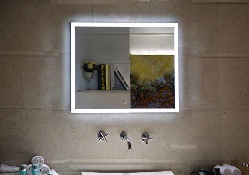 Badspiegel LED Spiegel mit Beleuchtung durch satinierte Lichtflächen viereckig 60 x 60 cm Badezimmerspiegel mit Touch-Schalter