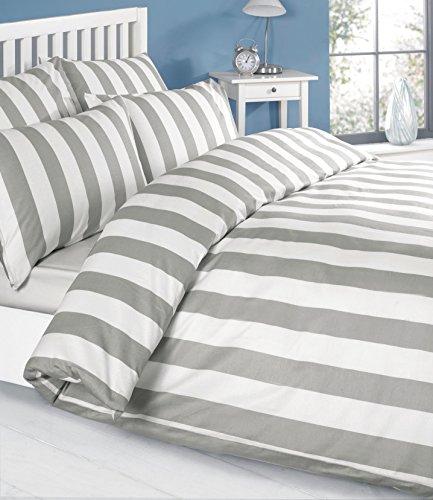 Bettwäsche Bettbezug Set Grau Weiss weiß Gestreiften 100% Baumwolle Kopfkissenbezüge Bettdecke (260 x 220 cm)
