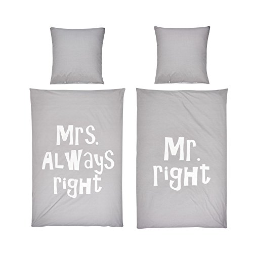 bettw sche set schriftzug mr right mrs always right 100 baumwolle grau wei 135 x 200 4. Black Bedroom Furniture Sets. Home Design Ideas